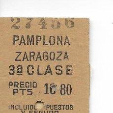 Coleccionismo Billetes de transporte: BILLETE FERROCARRIL EDMONDSON DE PAMPLONA A ZARAGOZA. Lote 295824948
