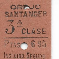 Coleccionismo Billetes de transporte: BILLETE FERROCARRIL EDMONDSON DE OREJO A SANTANDER. Lote 295825088