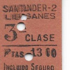 Coleccionismo Billetes de transporte: BILLETE FERROCARRIL EDMONDSON DE SANTANDER A LIERGANES. Lote 295825143