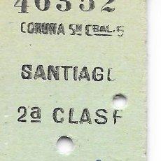 Coleccionismo Billetes de transporte: BILLETE FERROCARRIL EDMONDSON DE CORUÑA A SANTIAGO 2ª CLASE. Lote 295825228