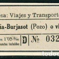 Collezionismo Biglietti di trasporto: BILLETE DE VIAJES Y TRANSPORTES, S.L. // VALENCIA - BURJASOT// S29. Lote 295905898
