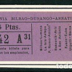 Collezionismo Biglietti di trasporto: BILLETE DE TRANVIA BILBAO - DURANGO - ARRATIIA // S29. Lote 295906773