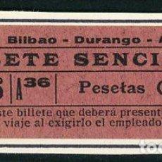 Collezionismo Biglietti di trasporto: BILLETE DE TRANVIA BILBAO - DURANGO - ARRATIIA // S29. Lote 295906918