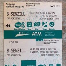Coleccionismo Billetes de transporte: 2 BILLETES SENCILLOS SENZILL ÀREA DE BARCELONA METRO O BUS, ATM. LOT TI1 - TH1. Lote 295981278