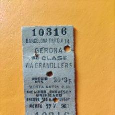 Coleccionismo Billetes de transporte: BILLETE ANTIGUO. GERONA- VIA GRANOLLERS 3RA CLASE. Lote 295988718