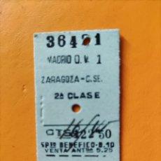 Coleccionismo Billetes de transporte: BILLETE MADRID- ZARAGOZA- 2DA CLASE.. Lote 295990358