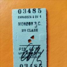 Coleccionismo Billetes de transporte: BILLETE ANTIGUO ZARAGOZA- MONZÓN R.C.- 2DA CLASE. Lote 295992063