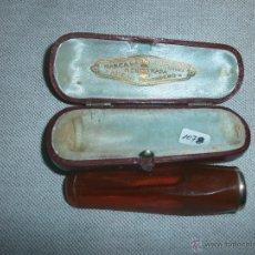 Boquillas de colección: BOQUILLA DE FUMAR PUROS CON FUNDA ORIGINAL MARCA REGISTRADA AMBAR VERDADERO POSIBLEMENTE ORO. Lote 214160851