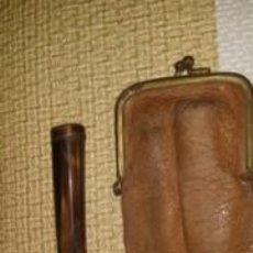 Boquillas de colección: BOQUILLA ANTIGUA Y FUNDA CUERO TIPO MONEDERO. Lote 102511547