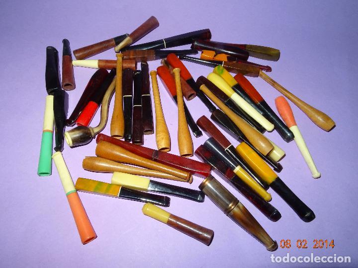 ANTIGUO LOTE DE 46 BOQUILLAS PIPAS DE ASTA, MADERA, HUESO Y MATERIALES DIVERSOS (Coleccionismo - Objetos para Fumar - Boquillas )