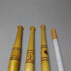 Boquillas de colección: TRES ANTIGUAS BOQUILLAS DE MADERA PARA TABACO TALLADAS.. Lote 112265934