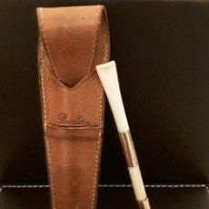 Boquillas de colección: EXCLUSIVA BOQUILLA PARA CIGARRILLOS DE ORO DE 18 KILATES Y MARFIL CON SU FUNDA DE PIEL ORIGINAL. Lote 94404474
