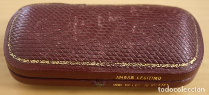 CAJA EN PIEL GRANATE PARA BOQUILLA DE AMBAR (Coleccionismo - Objetos para Fumar - Boquillas )