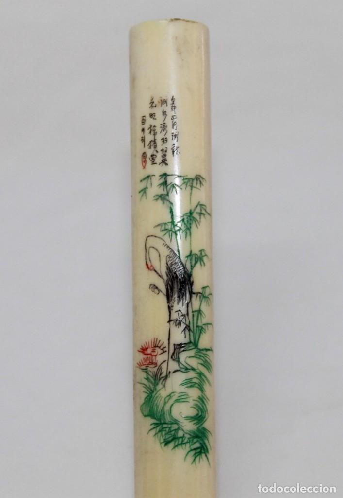 Boquillas de colección: BOQUILLA CHINA EN MARFIL TALLADA Y POLICROMADA CON POEMA - PRINCIPIOS SIGLO XX - Foto 2 - 173916653