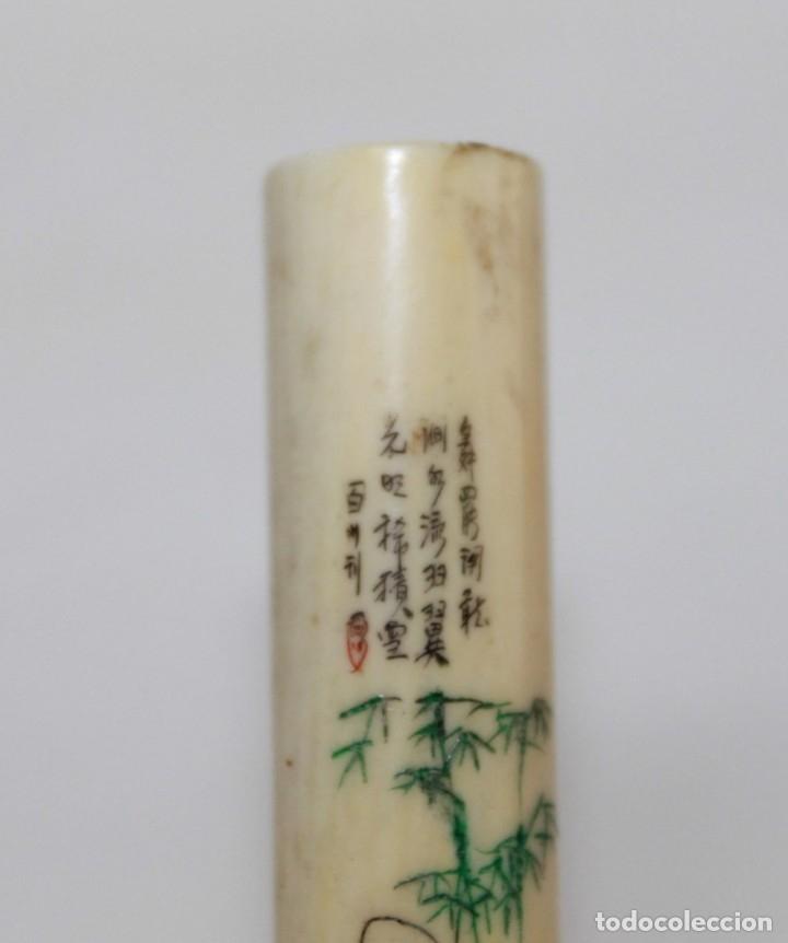 Boquillas de colección: BOQUILLA CHINA EN MARFIL TALLADA Y POLICROMADA CON POEMA - PRINCIPIOS SIGLO XX - Foto 3 - 173916653