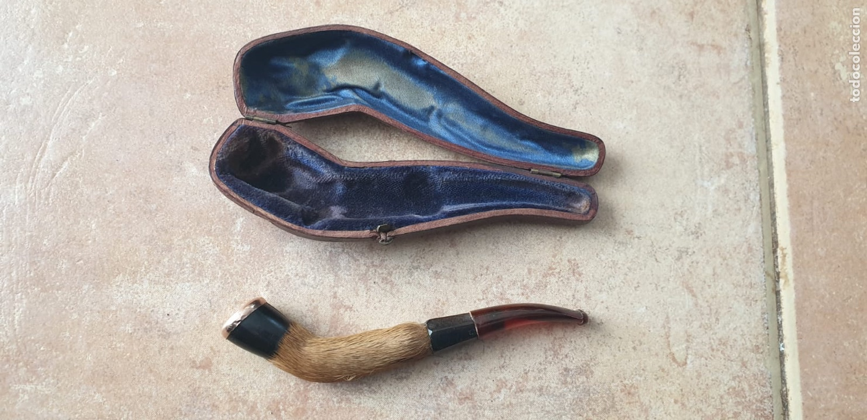 Boquillas de colección: Boquilla pipa antigua con pelo animal i ambar, rematate de oro 18k con estuche de piel - Foto 4 - 220117792