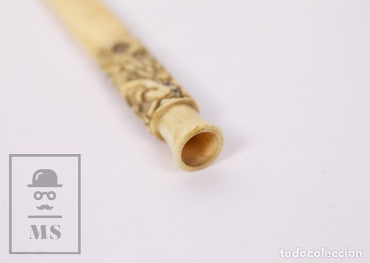 Boquillas de colección: Antigua Boquilla de Marfil Tallado - Dragón Chino - Tabaco / Cigarrilos - Longitud 7,5 cm - Foto 4 - 227010900