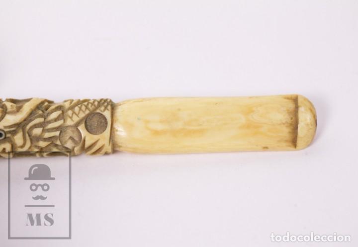 Boquillas de colección: Antigua Boquilla de Marfil Tallado - Dragón Chino - Tabaco / Cigarrilos - Longitud 7,5 cm - Foto 5 - 227010900