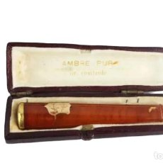 Boquillas de colección: BOQUILLA EN AMBAR Y ORO 14KT. FRANCIA CA 1890 - BOXED CIGARETTE HOLDER AMBER, 14KT GOLD. Lote 222659575