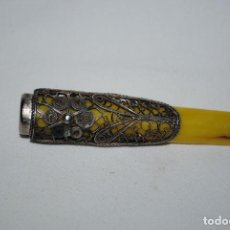 Boquillas de colección: ANTIGUA BOQUILLA DE CELULOIDE Y PLATA .. Lote 288204318