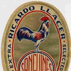 Coleccionismo de carteles: GRAN ETIQUETA CARTEL ITO NARANJAS RICARDO LLACER GALLO SANGUINES ALGEMESI VALENCIA GRANDE ORIGINAL. Lote 254700900