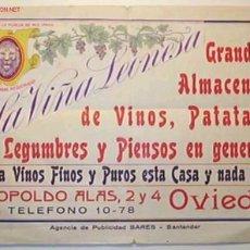 Coleccionismo de carteles: CARTELITO DE PUBLICIDAD DE -LA VIÑA LEONESA.GRANDES ALMACENES DE VINOS , PATATAS,LEGUMBRES Y PIENSO . Lote 12373795