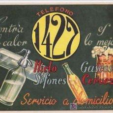 Coleccionismo de carteles: SIFONES, HIELO, GASEOSAS 1427 PRECIOSO CARTEL DE 18 X 24. Lote 16246777