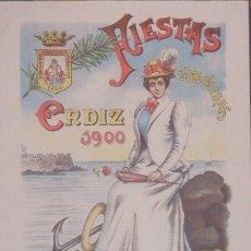 Coleccionismo de carteles: FIESTAS VERANIEGAS CADIZ 1900. VELADA NUESTRA SEÑORA DE LOS ANGELES.. Lote 4291319