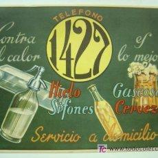 Coleccionismo de carteles: CARTELITO CERVEZA, SIFONES, GASEOSA, HIELO... TELEFONO 1427 SERVICIO A DOMICILIO, AÑOS 1950 APROX.. Lote 204699676