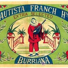 Coleccionismo de carteles: CARTEL ITO , ETIQUETA NARANJAS ARLEQUIN , BAUTISTA FRANCH HNOS. BURRIANA , CASTELLON , MUY ANTIGUA . Lote 17565255