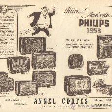 Coleccionismo de carteles: CARTEL EN PAPEL PUBLICIDAD DE PHILIPS 1953 RADIO. Lote 18839049