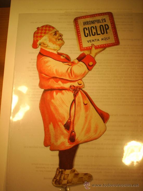 CARTEL PUBLICIDAD FARMACIA . TROQUELADO DE CARTON IRROMPIBLES CICLOP (Coleccionismo - Carteles Pequeño Formato)