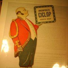 Coleccionismo de carteles: PROPAGANDA DE FARMACIA ,, TROQUELADO DE CARTON , IRROMPIBLES CICLOP. Lote 24310517