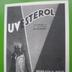 Coleccionismo de carteles: PUBLICIDAD FARMACEUTICA UVESTEROL. LABORATORIOS UVE (MADRID) . Lote 26730730