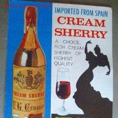 Coleccionismo de carteles: ANTIGUO DISPLAY DE CREAM SHERRY CEBALLOS-24/32 CM. Lote 2160701