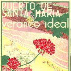 Coleccionismo de carteles: CARTEL LITOGRAFICO DEL PTO. STA. MARIA VERANO IDEAL 1935. Lote 17976903