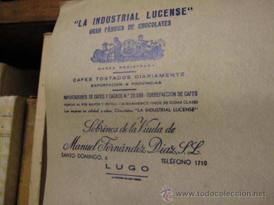 Coleccionismo de carteles: 6 PLIEGOS PUBLICITARIOS - CHOCOLATE LA INDUSTRIAL LUCENSE- APROX 1930 50X35CM -TFN 4 CIFRAS LUGO + - Foto 2 - 136225569
