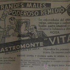 Collectionnisme d'affiches: PEQUEÑA PUBLICIDAD DE AGUA CASTROMONTE VITA, VALLADILID.. Lote 11570026