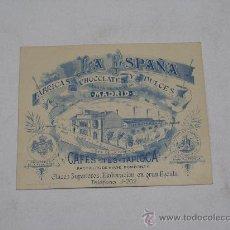 Collectionnisme d'affiches: LA ESPAÑA . FÁBRICA DE CHOCOLATES Y DULCES . TARJETA PUBLICIDAD . MEDIDAS 14 X 11 CMS. Lote 26726589
