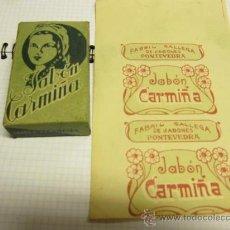Coleccionismo de carteles: JABON CARMIÑA - CAJA CARTON Y PAPEL ENVOLTORIO DE PASTILLA - FABRICA EN MOLLABAO PONTEVEDRA +- 1930. Lote 80572798
