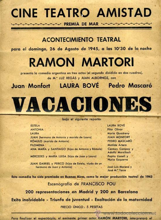 CINE TEATRO AMISTAD PREMIA DE MAR CARTEL DE 1945 OBRA VACACIONES (Coleccionismo - Carteles Pequeño Formato)