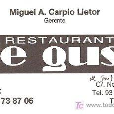 Coleccionismo de carteles: TARJETA COMERCIAL. RESTAURANT DE GUST. TERRASSA. CATALUNYA. Lote 12437109