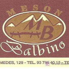 Coleccionismo de carteles: TARJETA COMERCIAL. MESON BALBINO. TERRASSA. CATALUNYA. Lote 12437600