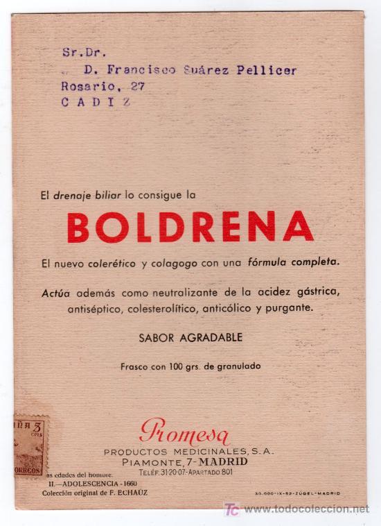 Coleccionismo de carteles: LAMINA PUBLICITARIA FARMACIA. MEDICINA AÑOS 50. CONTIENE FOTOGRAFIA DEL REVERSO - Foto 2 - 13611355