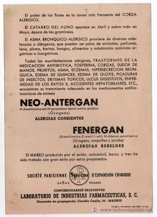 Coleccionismo de carteles: LAMINA PUBLICITARIA FARMACIA. MEDICINA AÑOS 50. CONTIENE FOTOGRAFIA DEL REVERSO - Foto 2 - 13625051