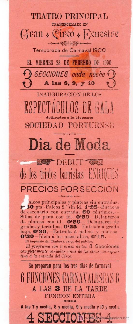 PUERTO DE SANTA MARIA CIRCO. CIRCO ECUESTRE 1900. CARTEL DE LA TEMPORADA DE CARNAVAL 1900 (Coleccionismo - Carteles Pequeño Formato)