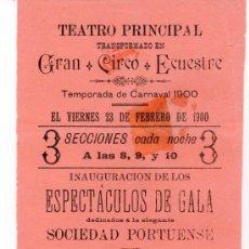 Coleccionismo de carteles: PUERTO DE SANTA MARIA. CIRCO. CIRCO ECUESTRE .1900. CARTEL DE LA TEMPORADA DE CARNAVAL 1900. Lote 17976890