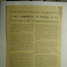 Coleccionismo de carteles: 9139 PANFLETO POLITICO FERROVIARIOS ESPAÑOLES - POLITICA - TREN - FERROCARRIL AÑOS 1929 C&C. Lote 26777391