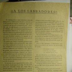 Coleccionismo de carteles: 9140 PANFLETO POLITICO A LOS LABRADORES VILLALON DE CAMPOS VALLADOLID - POLITICA - AÑOS 1920 . Lote 26938426