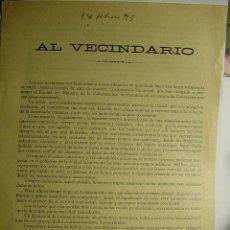 Coleccionismo de carteles: 9141 PANFLETO POLITICO AYUNTAMIENTO DE PALENCIA RENUNCIA CONCEJALES - POLITICA - AÑO 1915 . Lote 26777396